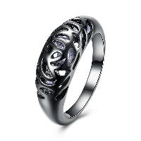 comeon® Finger-Ring, Messing, mit kubischer Zirkonia, metallschwarz plattiert, verschiedene Größen vorhanden & mit Blumenmuster & für Frau & hohl, frei von Nickel, Blei & Kadmium, 8mm, verkauft von PC