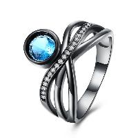 comeon® Finger-Ring, Messing, metallschwarz plattiert, verschiedene Größen vorhanden & für Frau & mit kubischem Zirkonia, frei von Nickel, Blei & Kadmium, 12mm, verkauft von PC