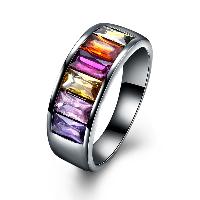 comeon® Finger-Ring, Messing, metallschwarz plattiert, verschiedene Größen vorhanden & für Frau & mit kubischem Zirkonia, frei von Nickel, Blei & Kadmium, 8mm, verkauft von PC