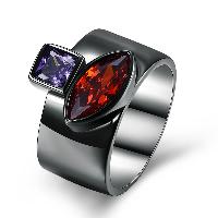 comeon® Finger-Ring, Messing, metallschwarz plattiert, verschiedene Größen vorhanden & für Frau & mit kubischem Zirkonia, frei von Nickel, Blei & Kadmium, 14mm, verkauft von PC