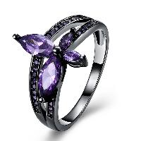 comeon® Finger-Ring, Messing, Blume, metallschwarz plattiert, verschiedene Größen vorhanden & für Frau & mit kubischem Zirkonia, frei von Nickel, Blei & Kadmium, 15mm, verkauft von PC