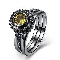 comeon® Finger-Ring, Messing, flache Runde, metallschwarz plattiert, verschiedene Größen vorhanden & für Frau & mit kubischem Zirkonia, frei von Nickel, Blei & Kadmium, 11mm, verkauft von PC