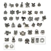 Zink Legierung Europa Perlen, Zinklegierung, antik silberfarben plattiert, ohne troll, frei von Blei & Kadmium, 8x8x7mm-14x12x6m, Bohrung:ca. 5mm, 40PCs/Tasche, verkauft von Tasche