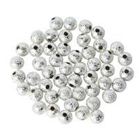 Messing Schmuckperlen, rund, silberfarben plattiert, frei von Nickel, Blei & Kadmium, 4mm, Bohrung:ca. 1.5mm, 100PCs/Tasche, verkauft von Tasche