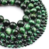 Tigerauge Perlen, rund, natürlich, verschiedene Größen vorhanden, grün, verkauft per ca. 15 ZollInch Strang