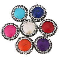 Türkis Perlen, Synthetische Türkis, mit Ton, flache Runde, mit Strass, keine, 16.5-17.5x6.5mm, Bohrung:ca. 1mm, 20PCs/Menge, verkauft von Menge