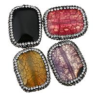 Achat Perlen, gemischter Achat, mit Ton, Rechteck, mit Strass, keine, 29-30x22-23x7.5-8.5mm, Bohrung:ca. 1mm, 10PCs/Menge, verkauft von Menge