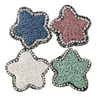 Natürliche Lava Perlen, mit Ton, Stern, mit Strass, keine, 27.5-29.5x27.5-30x7.5-9mm, Bohrung:ca. 2mm, 10PCs/Menge, verkauft von Menge