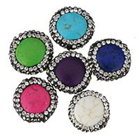 Türkis Perlen, Synthetische Türkis, mit Ton, flache Runde, mit Strass, keine, 16-18x6.5mm, Bohrung:ca. 1mm, 20PCs/Menge, verkauft von Menge