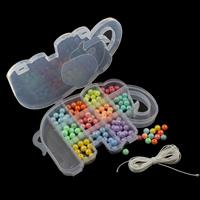 Volltonfarbe Acryl Perlen, mit Kunststoff Kasten & Nylonschnur & Harz, rund, 10mm, 192x131x25mm, verkauft von Box