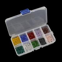 Kristall-Perlen, Kristall, mit Kunststoff Kasten, transparent & facettierte, 4x4mm, 130x69x22mm, Innendurchmesser:ca. 0.5mm, verkauft von Box