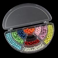 Kunststoffperlen, Kunststoff, mit Kunststoff Kasten, 6mm, 162x92x22mm, Innendurchmesser:ca. 1mm, verkauft von Box