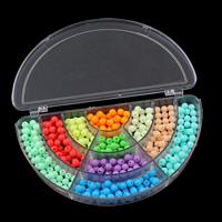 Volltonfarbe Acryl Perlen, mit Kunststoff Kasten, rund, 6mm, 162x92x22mm, Innendurchmesser:ca. 1mm, verkauft von Box