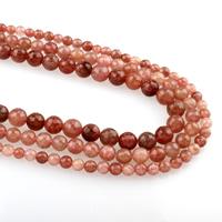 Strawberry Quartz Perle, rund, verschiedene Größen vorhanden & facettierte, Bohrung:ca. 1mm, verkauft per ca. 15.5 ZollInch Strang