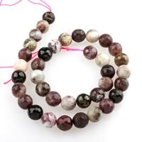 Turmalin Perle, rund, facettierte, 10mm, Bohrung:ca. 1mm, 37PCs/Strang, verkauft per ca. 15.5 ZollInch Strang