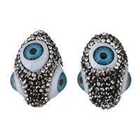 Harz Evil Eye Perlen, mit Ton, blöser Blick, mit Strass, 21x30x22mm, Bohrung:ca. 3mm, 5PCs/Menge, verkauft von Menge