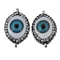 Harz Evil Eye Perlen, mit Ton, flachoval, böser Blick- Muster & mit Strass & 1/1-Schleife, 15x23.50x12.50mm, Bohrung:ca. 1mm, 10PCs/Menge, verkauft von Menge