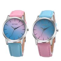 Damen Armbanduhr, PU Leder, mit Zinklegierung Zifferblatt & Glas, silberfarben plattiert, für Frau & wasserdicht, keine, 38x8mm, 20mm, Länge:ca. 9.4 ZollInch, verkauft von PC