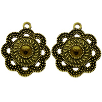 Zinklegierung Blume Anhänger, antike Bronzefarbe plattiert, frei von Blei & Kadmium, 25x30x3mm, Bohrung:ca. 2mm, Innendurchmesser:ca. 6mm, 200PCs/Tasche, verkauft von Tasche