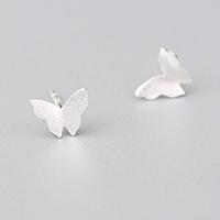 Messing Ohrstecker, Schmetterling, Platinfarbe platiniert, gebürstet & für Frau, 8x8mm, verkauft von Paar