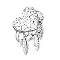 comeon® Finger-Ring, Messing, Herz, silberfarben plattiert, verschiedene Größen vorhanden & für Frau & hohl, frei von Nickel, Blei & Kadmium, 31mm, verkauft von PC