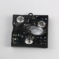 KRISTALLanhänger, Zinklegierung, mit Kristall, Rechteck, Einbrennlack, mit Strass, 36x40mm, 100PCs/Menge, verkauft von Menge