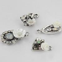 Zinklegierung Blume Anhänger, mit Harz & Kunststoff Perlen, antik silberfarben plattiert, verschiedene Stile für Wahl & mit Strass, 100PCs/Menge, verkauft von Menge
