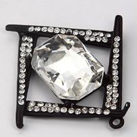 KRISTALLanhänger, Zinklegierung, mit Kristall, Quadrat, Einbrennlack, mit Strass, 54x58mm, 100PCs/Menge, verkauft von Menge