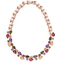 Messing Halskette, Tropfen, echtes Rósegold plattiert, für Frau & mit kubischem Zirkonia, frei von Nickel, Blei & Kadmium, 12mm, 14mm, verkauft per ca. 17.7 ZollInch Strang