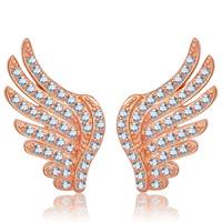 Messing Ohrstecker, Flügelform, plattiert, Micro pave Zirkonia & für Frau, keine, frei von Nickel, Blei & Kadmium, 9x17mm, verkauft von Paar