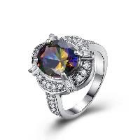 comeon® Finger-Ring, Messing, platiniert, verschiedene Größen vorhanden & für Frau & mit kubischem Zirkonia, 19mm, verkauft von PC