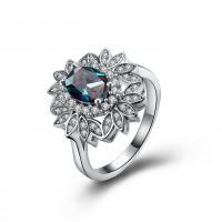 comeon® Finger-Ring, Messing, Blume, platiniert, verschiedene Größen vorhanden & für Frau & mit kubischem Zirkonia, 19mm, verkauft von PC