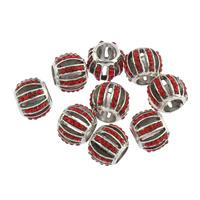 Strass Zinklegierung Perlen, Trommel, antik silberfarben plattiert, mit Strass & großes Loch, frei von Blei & Kadmium, 10x12mm, Bohrung:ca. 5.5mm, 10PCs/Tasche, verkauft von Tasche