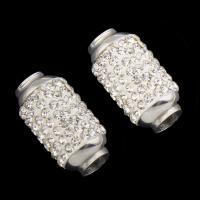Edelstahl-Perlen mit großem Loch, Edelstahl, mit Strass & großes Loch, originale Farbe, 18.50x10mm, Bohrung:ca. 5mm, 10PCs/Tasche, verkauft von Tasche