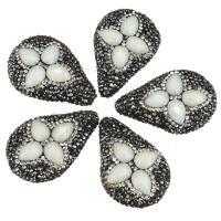 Strass Ton befestigte Perlen, mit Kristall, Tropfen, facettierte, weiß, 26-27x38-41x10-11mm, Bohrung:ca. 2mm, 10PCs/Menge, verkauft von Menge