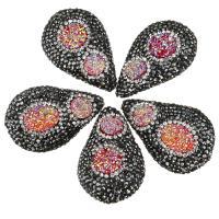 Strass Ton befestigte Perlen, mit Eisquarz Achat, natürliche & druzy Stil, 26-28x39-42x14-17mm, Bohrung:ca. 2mm, 10PCs/Menge, verkauft von Menge