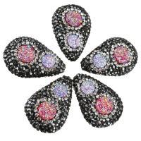Strass Ton befestigte Perlen, mit Eisquarz Achat, Tropfen, natürliche & druzy Stil, 19-20x29-31x11-12mm, Bohrung:ca. 1mm, 10PCs/Menge, verkauft von Menge