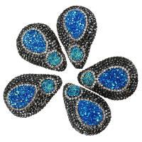 Strass Ton befestigte Perlen, mit Eisquarz Achat, Tropfen, natürliche & druzy Stil, 26-28x38-40x16-18mm, Bohrung:ca. 2mm, 10PCs/Menge, verkauft von Menge
