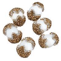 Strass Ton befestigte Perlen, mit Weiße Porzellan, flachoval, 12-15x18-20x12-15mm, Bohrung:ca. 1mm, 10PCs/Menge, verkauft von Menge