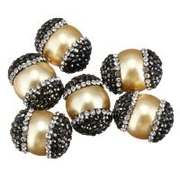Strass Ton befestigte Perlen, mit Muschelkern, natürliche, 14-16x19-21x14-16mm, Bohrung:ca. 1mm, 10PCs/Menge, verkauft von Menge