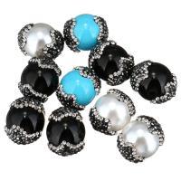 Strass Ton befestigte Perlen, mit Muschelkern, rund, keine, 14-17x18-21x14-17mm, Bohrung:ca. 1mm, 10PCs/Menge, verkauft von Menge