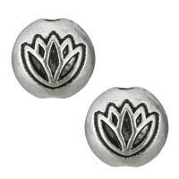 Zinklegierung flache Perlen, flache Runde, antik silberfarben plattiert, frei von Nickel, Blei & Kadmium, 8x5.50mm, Bohrung:ca. 1mm, 1000PCs/Menge, verkauft von Menge