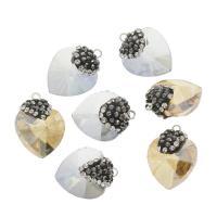 KRISTALLanhänger, Kristall, mit Ton & Zinklegierung, Herz, facettierte, mehrere Farben vorhanden, 14x18x10mm, Bohrung:ca. 1.5mm, 10PCs/Tasche, verkauft von Tasche