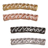 Messing Rohr Perlen, gebogenes Rohr, plattiert, Micro pave Zirkonia, keine, 31x7x5mm, Bohrung:ca. 3mm, 10PCs/Menge, verkauft von Menge