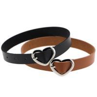 Mode-Halskette, PU Leder, mit Zinklegierung, Herz, Platinfarbe platiniert, für Frau, keine, frei von Nickel, Blei & Kadmium, 20mm, verkauft per ca. 16 ZollInch Strang