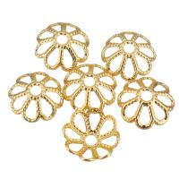 Messing Perlenkappe, Blume, vergoldet, hohl, 8x8x3mm, Bohrung:ca. 1.5mm, 200PCs/Menge, verkauft von Menge