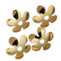 Messing Perlenkappe, Blume, vergoldet, 8.50x8.50x2mm, Bohrung:ca. 1.5mm, 100PCs/Menge, verkauft von Menge