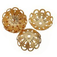 Messing Perlenkappe, vergoldet, hohl, 17.50x17.50x7mm, Bohrung:ca. 2mm, 100PCs/Menge, verkauft von Menge