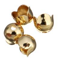 Messing Perlenkappe, Blume, vergoldet, 6x5x6mm, Bohrung:ca. 1.5mm, Innendurchmesser:ca. 5.3mm, 100PCs/Menge, verkauft von Menge