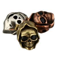 Befestigte Zirkonia Perlen, Messing, Schädel, plattiert, Micro pave Zirkonia, keine, 10.50x13.50x9.50mm, Bohrung:ca. 2mm, 20PCs/Menge, verkauft von Menge